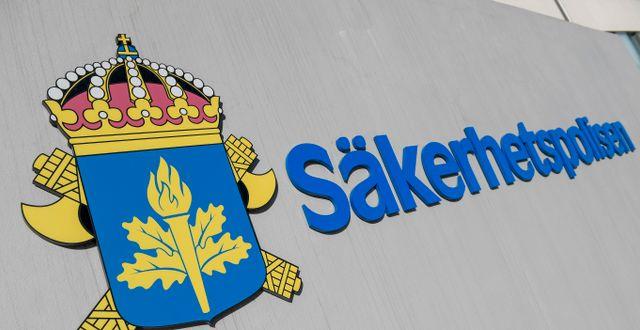 Säkerhetspolisens logotyp.  Janerik Henriksson/TT / TT NYHETSBYRÅN