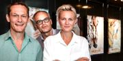Johan Rehborg och Josephine Bornebusch från Solsidan som nu blir film med premiär 1 december, när höstens svenska biopremiärer presenterades på Filmhuset i Stockholm på måndagen. Anders Wiklund/TT / TT NYHETSBYRÅN