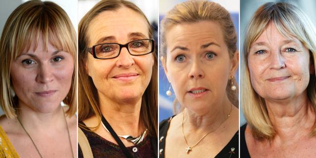 Linnéa Engström (MP), Bodil Valero (MP), Cecilia Wikström (L) och Marita Ulvskog.  TT