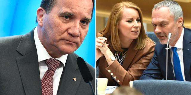 Stefan Löfven (S) t.v. Annie Lööf (C) och Jan Björklund (L) t.h. TT