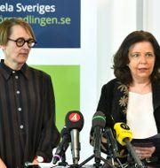 Annika Sundén, analyschef på Arbetsförmedlingen, och Arbetsförmedlingens generaldirektör Maria Mindhammar. Claudio Bresciani/TT / TT NYHETSBYRÅN