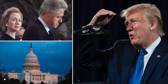 Hillary och Bill Clinton och Donald Trump.  TT