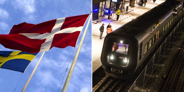 Dansk och svensk flagga. Tåg på stationen i Kastrup. TT