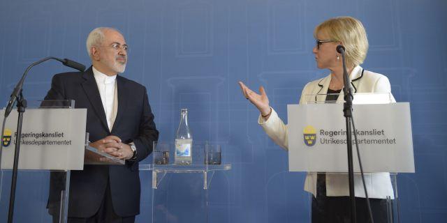 Presskonferens med utrikesministrarna Javad Zarif och Margot Wallström (S) 2016.  Maja Suslin/TT / TT NYHETSBYRÅN