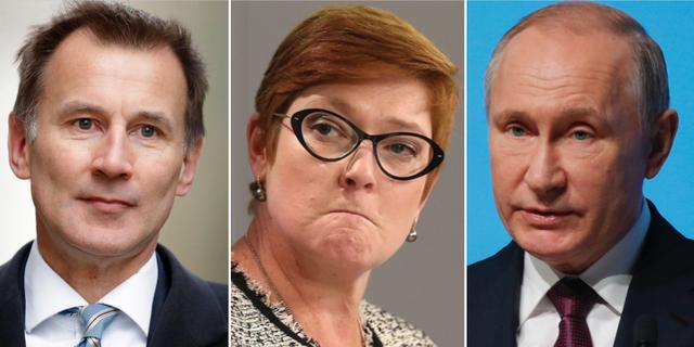Jeremy Hunt, Marise Payne och Vladimir Putin. TT