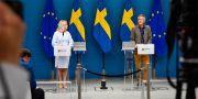 Hallengren och Tegnell vid torsdagens pressträff Naina Helén Jåma/TT / TT NYHETSBYRÅN