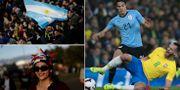Fans från Argentina och Chile samt Edison Cavani från Uruguay.  Bildbyrån.