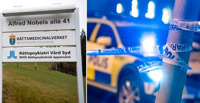 Illustrationsbilder. Rättpsykiatriska enheten i Huddinge (t v), polisavspärrning (t h). TT