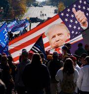 Flagga med bild på Donald Trump i protesterna mot valresultatet. Julio Cortez / TT NYHETSBYRÅN