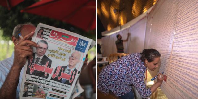 Kais Saied och Nabil Karoui prydde framsidorna av tidningarna idag/en kvinna fyller i resultat på en tavla under rösträkningen. TT
