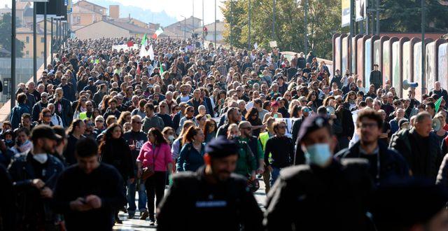 Protestmarsch i Bologna. Michele Nucci / TT NYHETSBYRÅN