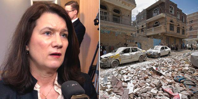 Ann Linde/ Sönderbombat hus i Sanaa, Jemen. TT