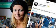 Katerina Janouch och hennes inlägg på Twitter, som senare togs bort. TT och skärmdump från Twitter