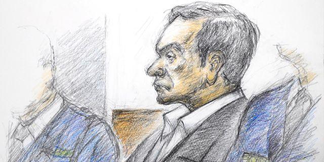 En illustration från domstolsförhöret. JIJI PRESS / JIJI PRESS