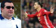 Spelaragenten Mino Raiola och Zlatan Ibrahimovic. TT