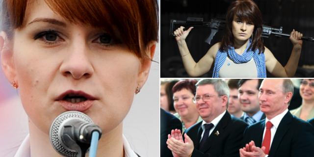 Maria Butina som tillsammans med Alexander Torshin (till vänster om Putin) misstänks ha infiltrerat NRA. TT