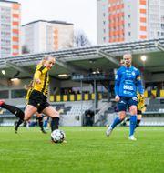 Häckens Stina Blackstenius under träningsmatchen i fotboll mellan Häcken och Eskilstuna United i februari. MATHIAS BERGELD / BILDBYRÅN