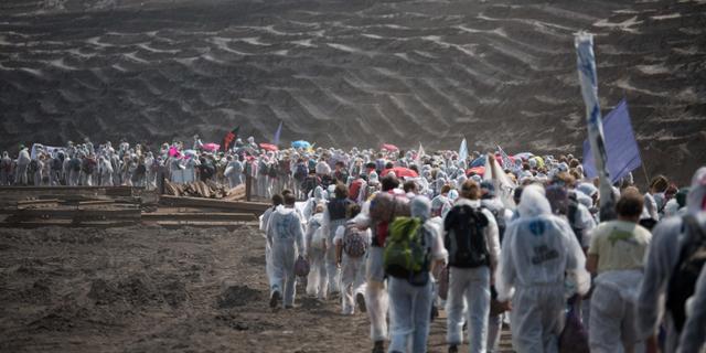 Aktivister protesterade mot vattenfall