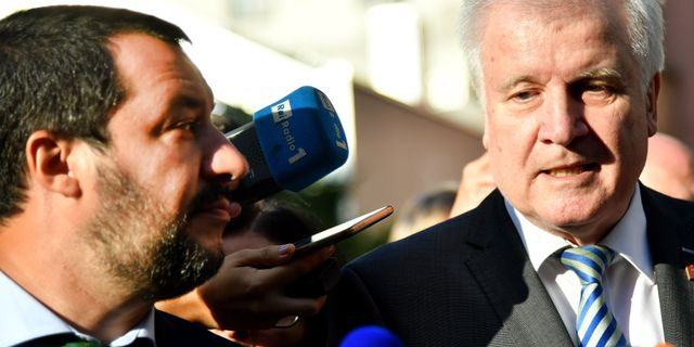Matteo Salvini och Horst Seehofer på en gemensam pressträff. BARBARA GINDL / APA