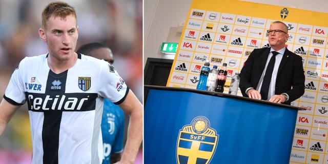 Vänster: Dejan Kulusevski. Höger: Janne Andersson vid dagens pressträff.  TT