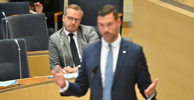 Mikael Damberg och Johan Forssell. Henrik Montgomery/TT / TT NYHETSBYRÅN