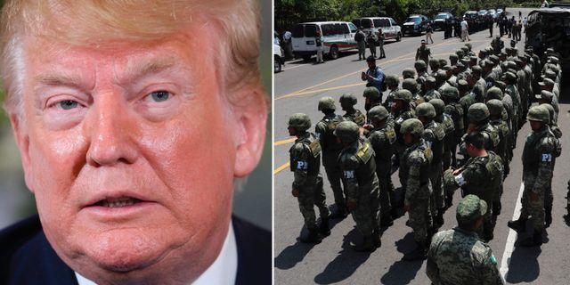 Donald Trump/Mexikansk militärpolis. TT