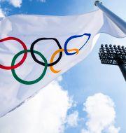 OS-flagga.  John Minchillo / TT NYHETSBYRÅN