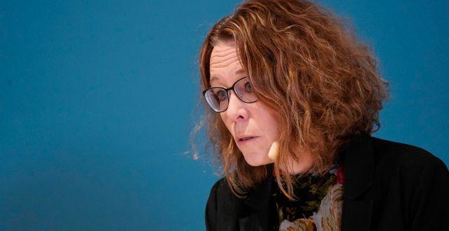 Maria Landgren, läkemedelschef och vaccinsamordnare i Region Skåne, under en presskonferens med Region Skåne i Malmö på onsdagen. Johan Nilsson/TT / TT NYHETSBYRÅN