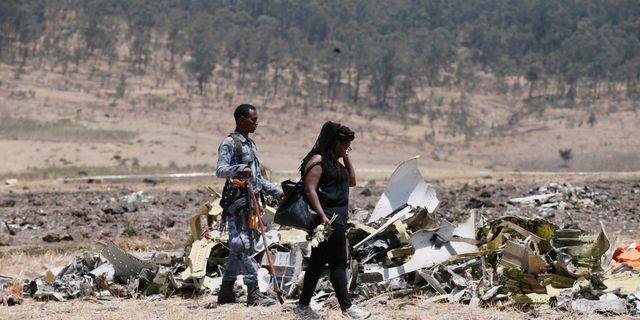 Olycksplatsen utanför Addis Abeba i Etiopien. BAZ RATNER / TT NYHETSBYRÅN