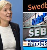 Finansminister Magdalena Andersson (S), de fyra storbankerna. Arkivbilder. TT