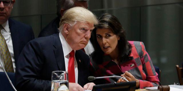 Donald Trump tillsammans med USA:s FN-ambassadör Nikki Haley.  Evan Vucci / TT NYHETSBYRÅN/ NTB Scanpix