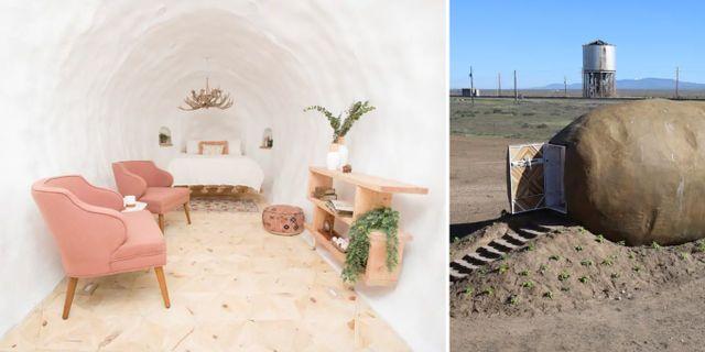 Vem skulle kunna tro att detta fina sovrum gömmer sig inne i potatisen? Airbnb