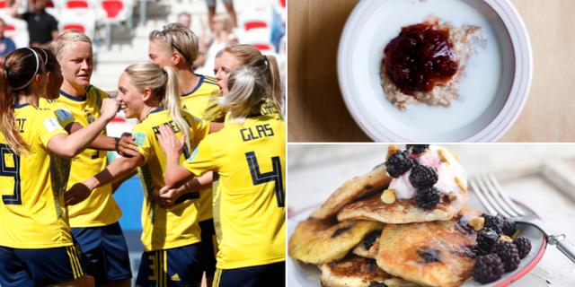 Svenska fotbollslandslaget, havregrynsgröt och pannkakor. Bildbyrån / TT