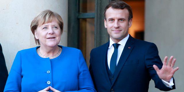 Merkel och Macron. Rafael Yaghobzadeh / TT NYHETSBYRÅN