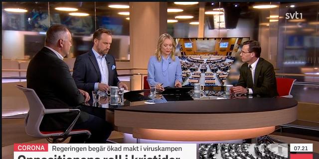 """Sjöstedt och Kristersson gästade SVT """"Morgonstudion"""".  SVT"""