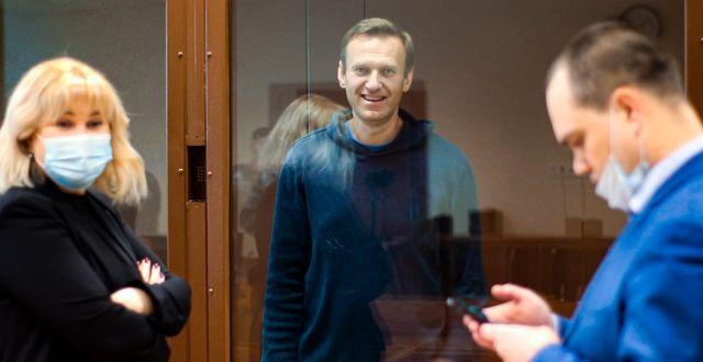 Navalnyj i rättssalen på tisdagen. TT NYHETSBYRÅN