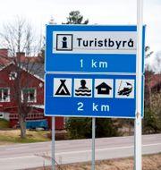 Skylt med texten turistbyrå. ULF PALM / TT / TT NYHETSBYRÅN