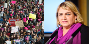 Arkivbild på Womens March i USA och Soraya Post, EU-parlamentariker för Feministiskt initiativ.  TT