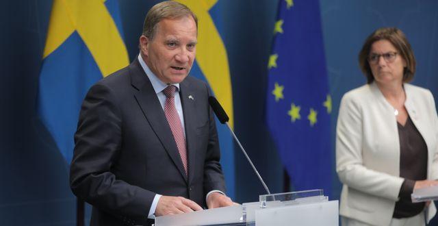 Stefan Löfven under torsdagens pressträff. Sören Andersson/TT / TT NYHETSBYRÅN