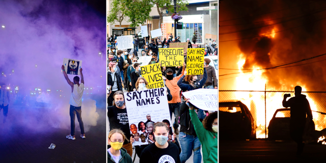 Bilder från protester i Dallas, Los Angeles och Minneapolis. TT