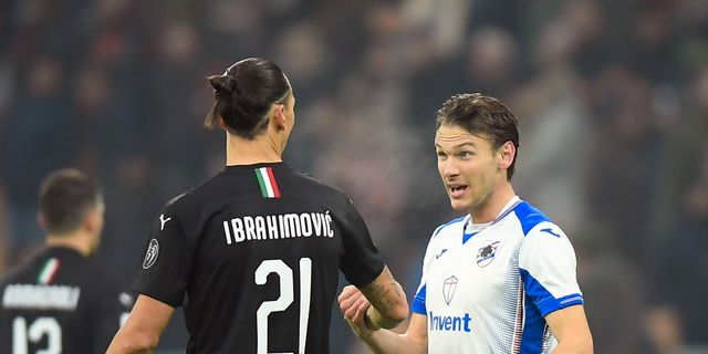 Ekdal och Zlatan Ibrahimovic i matchen Milan-Sampdoria tidigare i mars.  DANIELE MASCOLO / BILDBYRÅN