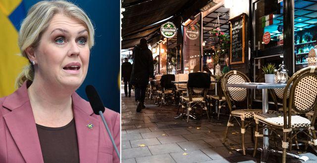 Lena Hallengren och en tom restaurang.  TT