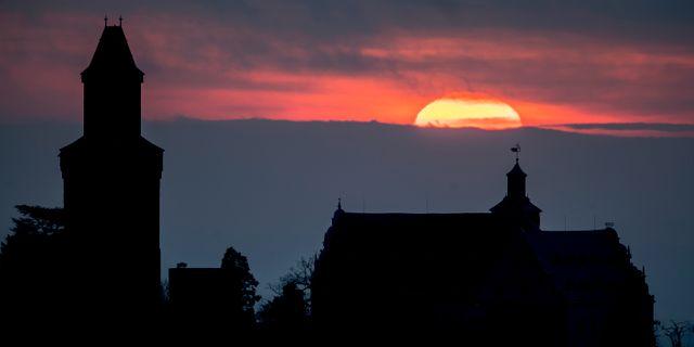Soluppgång nära Frankfurt. Michael Probst / TT NYHETSBYRÅN