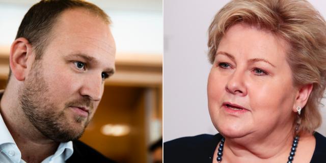 Jon Georg Dale (Fremskrittspartiet)/ Norges statsminister Erna Solberg (Høyre) TT