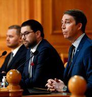 SD:s Henrik Vinge, Jimmie Åkesson och Richard Jomshof på presskonferens tidigare i veckan.  Henrik Montgomery/TT / TT NYHETSBYRÅN