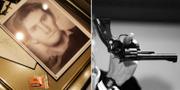 Fantombild på misstänkte mördaren och en Smith & Wesson.  TT