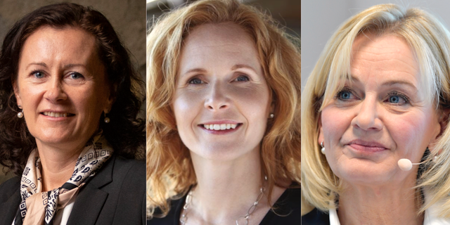 Helena Hedblom, vd Epiroc, Elisabeth Peregi vd för Kappahl och Carina Åkerström, vd för Handelsbanken.