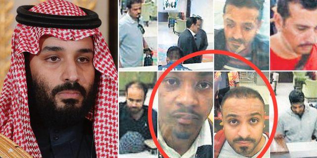 Mohammed bin Salman/två av de som uppges ha kopplingar till honom: Abdullaziz Murteb och Muhammed Alzahrani. TT