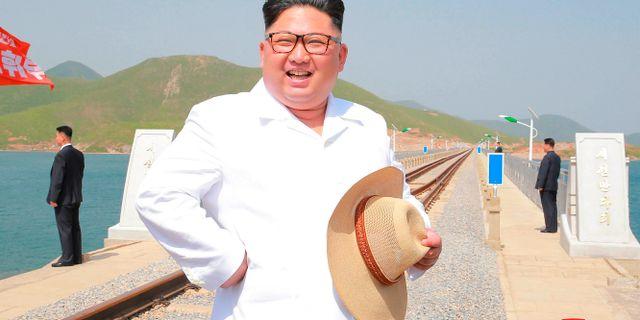 Odaterat fotografi av diktatorn Kim Jong-Un, från nordkoreanska myndigheter. Ledaren inspekterar ett järnvägsbygge. ????? / TT NYHETSBYRÅN