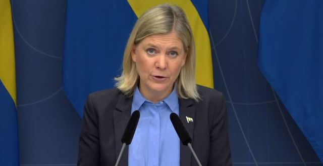 Finansminister Magdalena Andersson (S) vid pressträffen när stödet för enskilda firmor presenterades. Regeringskansliet / TT NYHETSBYRÅN